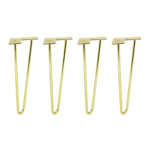 heimzeit Patas para mesas de hierro de alta calidad [4 unidades] - 40,6 cm - Color: Oro - Patas horquilla para muebles con elegante diseño industrial para bricolaje - Con recubrimiento en polvo