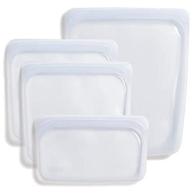 Stasher 100% Silicone Food Grade Reusable Storage Bag, Clear (4-Piece Bundle Set) | Plastic Free Lunch Bag | Cook, Store, Sous Vide, or Freeze | Leakproof, Dishwasher-Safe, Eco-friendly, Non-Toxic