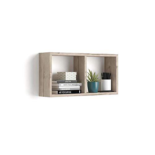 Mobili Fiver, Cube Mural First, en mélaminé, Chêne, 59 x 14,5 x 30 cm, Mélaminé, Made in Italy