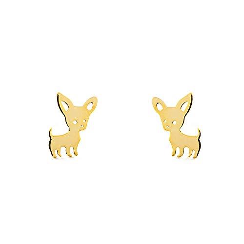 Pendientes oro niña perro chihuahua (9Kts)