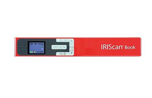 IRISCAN - Book 5 Scanner Portatile I Acquisizione Di Libri, Riviste e Quotidiani I Alta Velocità E Qualità I Batteria USB Ricaricabile I - Rosso