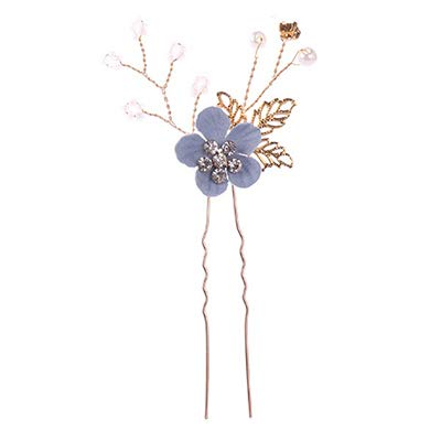 Pink/Blue Flower Bridal Hair Comb And Hairpins Pearl Wedding Hair Accessories Flower Head Piece Women Hair Jewelry Blue Hairpin1