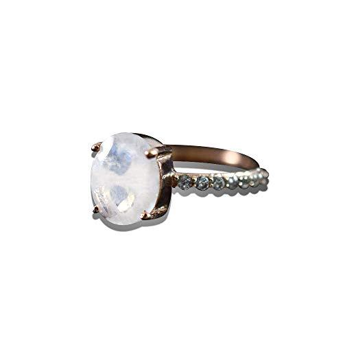 Dainty Rose Gold Moonstone Ring Vermeil Gold Engagement Ring Oval Shape Gemstone Natural Rainbow Moonstone Ring Moonstone Wedding Jewelry Minimal Moonstone Ring -  Deepak International Jewelry