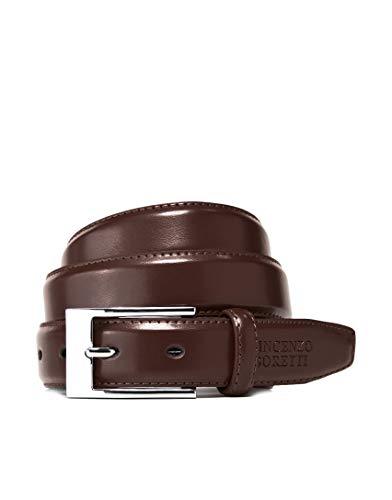 Vincenzo Boretti Herren-Gürtel mit silberfarbener Dornschließe, glänzendes Leder, schmal 30 mm Breite dunkelbraun 85 cm