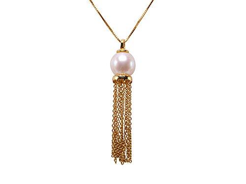 jyx Sterling Silber 9x 10mm Perle Süßwasserperle weiß oval Quaste Anhänger Halskette