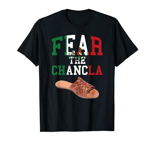 Fear La Chancla Mexicana Bandera Mexicana México Azteca Funny Chicano Zapato Camiseta