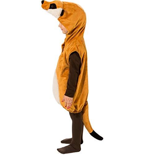 Amakando Niedlich Kinder-Weste Erdmännchen mit Mütze / Braun in Größe 104, 3 - 4 Jahre / Hübsches Tier-Outfit für Jungen & Mädchen / Perfekt geeignet zu Kinder-Fasching & Fasnet
