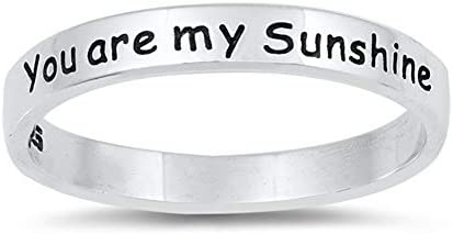 You are my Sunshine Stackable Script Ring 925 Sterling Silver Band Size 7 product image
