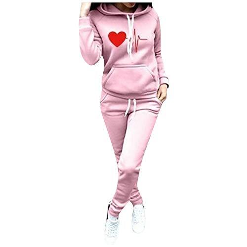 SHOBDW Sudadera con Capucha para Mujer Diaria Conjunto de Dos Piezas Patchwork Invierno Chaqueta de Manga Larga Trajes Deportivos Chándales Pantalones de chándal 2PCS (M, D-Rosa)