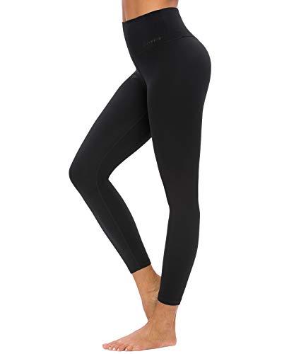 QUEENIEKE Leggins de Yoga para Mujer Pantalones de Talle Alto con Bolsillos Mallas Suaves de Control de Vientre para Yoga color Negro Talla L