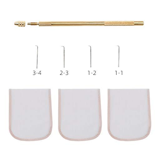 Asian Ventilating Needle for Lace Wig Kit Include 1 Wig Needle Holder and 4 Needles (One of Each Size 1-1, 1-2, 2-3 and 3-4) and 3 Pcs 4x4inch Swiss Lace Net for Wig Making Brown Color