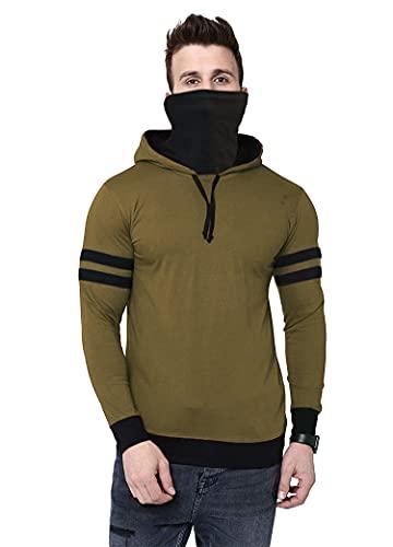 THE ARCHER Men's Solid Hooded Neck Regular Fit T-Shirt (Olive Green, X-Large)