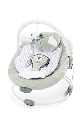 just 4 baby, Soft Padded New Born Lamb Bouncer Recliner with Soothing Music Vibration and Toys 0m+ 0077, Grey