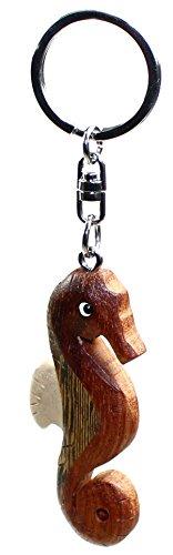 Schlüsselanhänger Seepferdchen aus Holz, Schlüssel Anhänger
