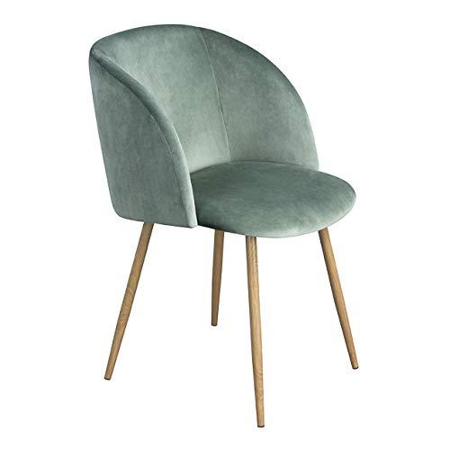 EGGREE 1er Set Vintager Retro Sessel Polstersessel Samt Lounge Sessel Clubsessel Fernsehsessel Grün