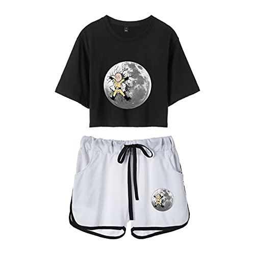 YZJYB Anime One Punch-Man Impreso En 3D Crop Top T-Shirt Camiseta Y Pantalone Cortos 2 Piezas Conjunto Estampado Saitama Niñas Mujer Funny Chándal Ropa Deportiva,Multi Colored,XS