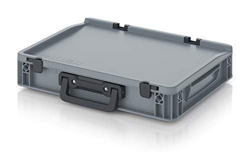 Eurobehälter 40x30x9 mit Scharnierdeckel und Klappgriff * Deckel Griff 40 x 30 x 9 Koffer