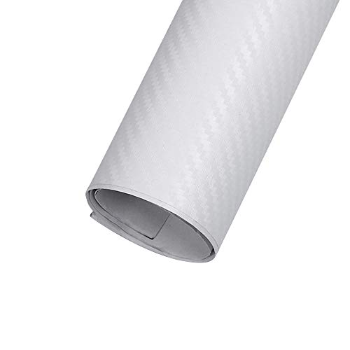 EBILUN Fibra de Carbono película del Vinilo de Alto Brillo Abrigo del Coche del Rollo Adhesivo de la Etiqueta engomada Hoja, 127x30cm Blanca