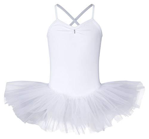 tanzmuster ® Ballettkleid Mädchen Tutu - Kim- aus weichem Baumwollstoff mit Glitzersteinen Ballett Trikot Ballettanzug in weiß, Größe 128-134