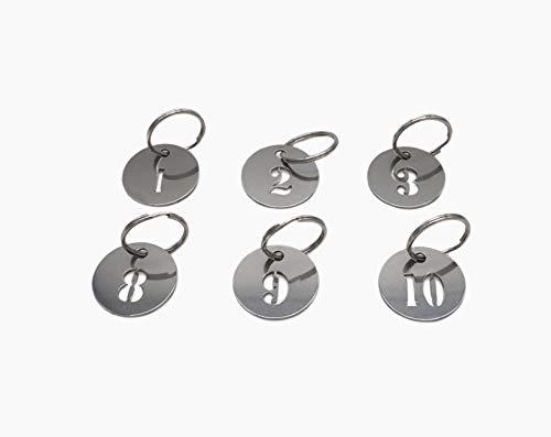 304 Edelstahl Schlüsselanhänger mit Ring, hohle Nummern ID Tags Schlüsselanhänger, nummerierte Schlüsselringe 1 to 20 25mm
