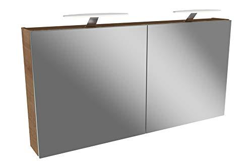 FACKELMANN LED Spiegelschrank 120 cm Tamia/Badschrank mit 3D Effekt/Maße (B x H x T): ca. 120 x 62 x 13,6 cm/Schrank mit Spiegel & LED-Beleuchtung für das Badezimmer / 2 Türen/Korpus: Braun