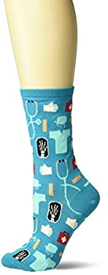 Hot Sox Women's Novelty Occupation Casual Crew, Medical (Turquoise), Shoe Size: 4-10 (Sock Size: 9-11)