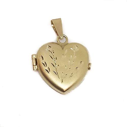 Minoplata Colgante guardapelo corazón de Oro 18 Kl 22x23 Mm. una joya en la que podrás guardar una foto, o pequeños recuerdos, es ideal para regalar a una mujer especial