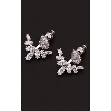 Europese en Amerikaanse Mode Sieraden-Dames Kristal S925 Sterling zilveren Oorbellen Vliegtuig Ster Anker Europese Mode Sieraden, Thumby White and Sliver
