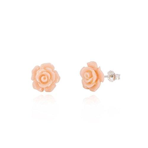 Pendientes de plata de ley con forma de rosa/pendientes de rosa/pendientes de flor, caja de regalo [amarillo pálido]