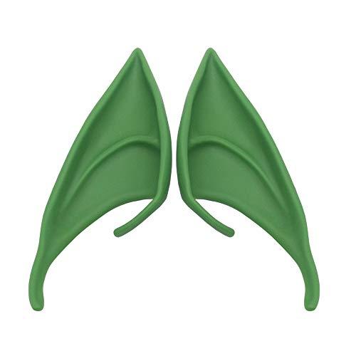 Orejas de Elfo Látex Suaves Orejas Duendes para Disfraz Orejas para Cosplay Extraterrestre Disponible en Muchos Colores (Verde, 10cm)
