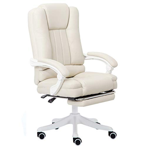 MOORRLII Gaming Chair,Reclining Computer Office Chair with Footrest Ergonomic Racing PC Chair Desk Chair,Anchor Chair, Boss Chair,Off White