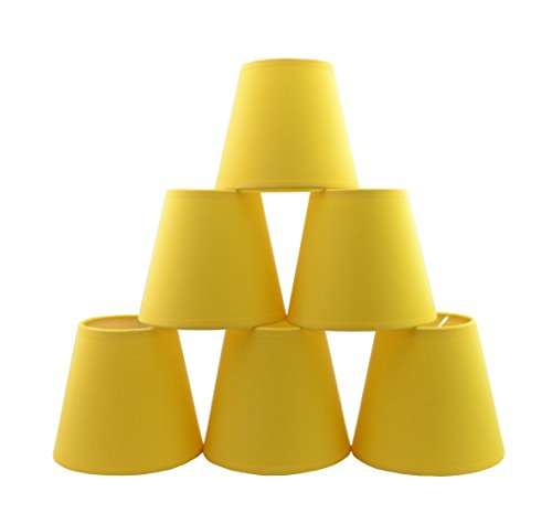 Conjunto de 6 piezas Clamp Pantalla de lámpara para lampara y lampara de pared (Plátano Amarillo) / Set of 6 Clip Lamp Shade for Chandelier and wall lamp (Banana Yellow)