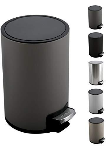 Spirella Kosmetikeimer 3 Liter Edelstahl mit Absenkautomatik und Inneneimer Riku Badezimmer Mülleimer Softclose Abfalleimer grau