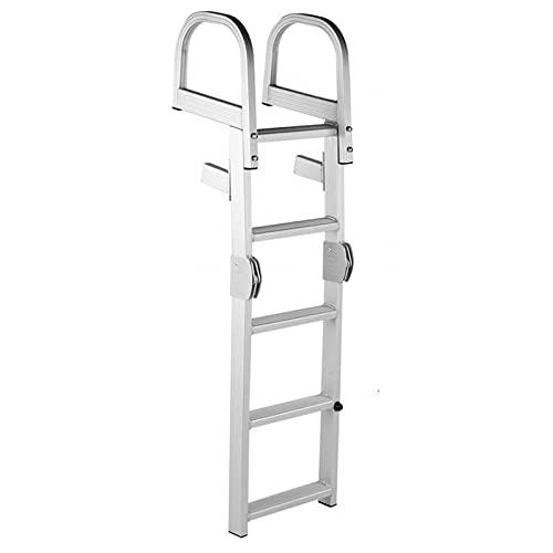 Escalera plegable de aluminio para barcos con pontón de aluminio de 5 escalones, escalera telescópica para barcos para fueraborda / cubierta, escalera de embarque con pedal antideslizante y tornillos