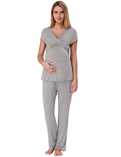 Zexxxy Ropa de Embarazo para Mujeres Pijama de Enfermería Suave con Fondos Gris M