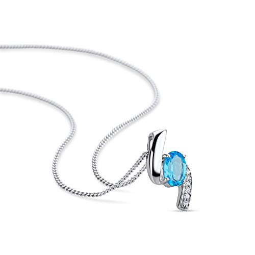 Orovi Women Necklace/Pendant with Chain 9 ct/375 White Gold With Brilliant Cut Diamonds and Oval Cut Swiss Blue Topaz 0…