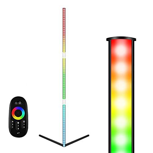 Lampada da Terra Angolare a LED con Telecomando, Moderna in Stile Minimalista RGB Piantana da Terra Dimmerabile per Sala Giochi, Soggiorno, Camera da letto Uverbon