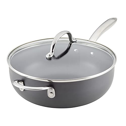 Rachael Ray 80088 Professional Hard Anodized Nonstick Sauce Pan / Saucepan / Saucier with Helper Handle and Lid, 4 Quart - Gray
