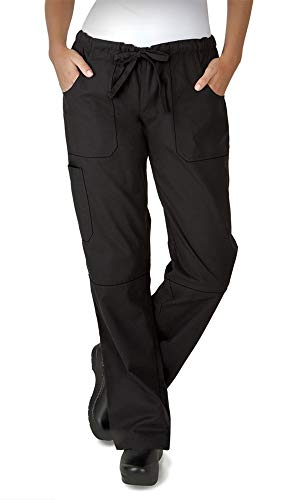 Women's Stretch Drawstring Chef Pant (XS-3X, Black) (X-Small)