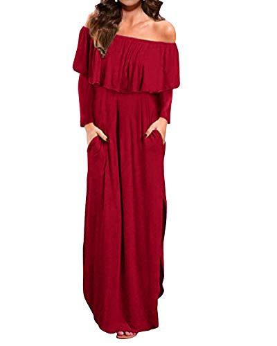 Style Dome Damen Schulterkleid Langarm Boho Kleid Blumenmuster Strandkleid Sommerkleider Lang Maxikleid 7 Rotwein S