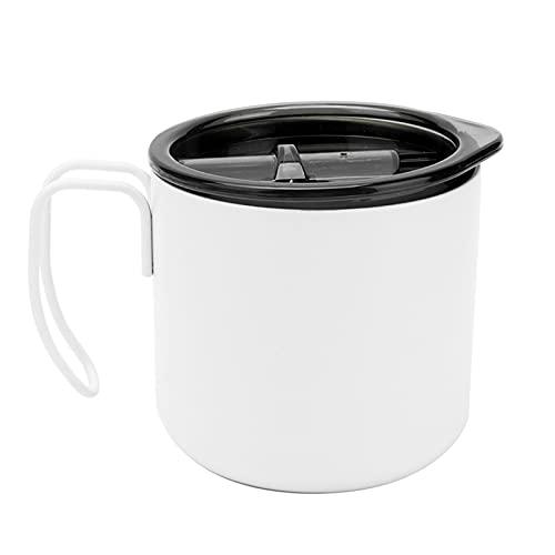 Taza de café de acero inoxidable de 12 oz con tapa, taza de camping al vacío, taza de café con aislamiento de doble pared, vaso de viaje con asa para bebidas frías y calientes