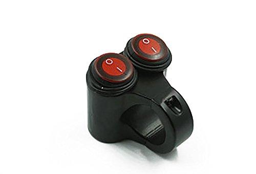 CAIZHIXIANG 7/8'Motocicleta Manillar Doble Interruptor de Control Botón Faros Peligro Freno Luz antiniebla Interruptores 3 Cables (Color : Rojo)