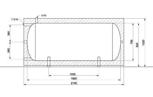 Pufferspeicher 1000 Liter mit Isolierung liegende Ausführung