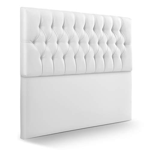 SUENOSZZZ-ESPECIALISTAS DEL DESCANSO Cabecero de Cama de 210 Modelo Copenhague, Color Blanco 220x120 | Cabezal Madera de Gran Acolchado con capitoné tapizado en Polipiel