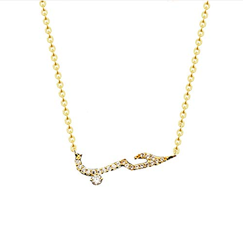 ETWJ Fashion Arabic Gold Necklace Jewelry BFF Friendship CZ Arabic Love Statement Pendant Necklace Collar Arabe Chain for Women Gift-Platinum Plated