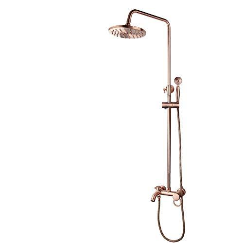 SHATONG Sistemas de Ducha de baño con Grifo de Agua Grifo de Ducha de baño, Grifo Mezclador de Grifo de baño con Cabezal de Ducha de Mano, Juego de Grifo de Ducha de latón Dorado Rosa montado en la