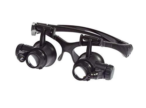 Mnjin Tragbare Lupe Kopflupe Leselupe LED-Licht 15X 20X 25X