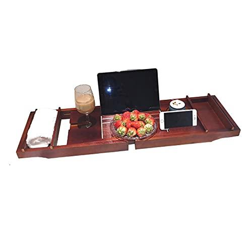 Extensible Bandeja sobre Banera con Soporte para Vidrio y Teléfono Bano Bandeja Bambu Premium para Tina con Ranuras para Vino y Soporte para Libros,75 ~ 109x23x4.5cm