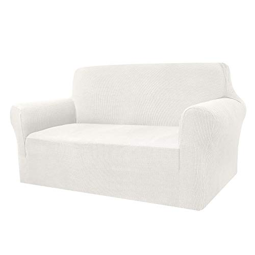 Granbest Funda de sofá de alta elasticidad, moderna funda de sofá jacquard, elástica, para salón, protector para perros y mascotas (2 plazas, color crema)