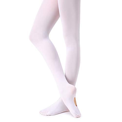 Soudittur Kinder Ballett Strumpfhose Convertible Tanz-Strumpfhosen mit Fersenloch 90D für Mädchen und Damen Weiß, Gr.- M (125-140 cm)